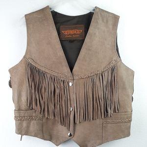 UNIK 100% Leather Vest Size Large with fringe